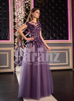 Womens fairy princess appliquéd bodice purple gown with floor length tulle skirt