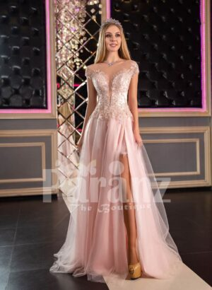 Womens fairy princess style side slit satin-tulle evening gown in pink