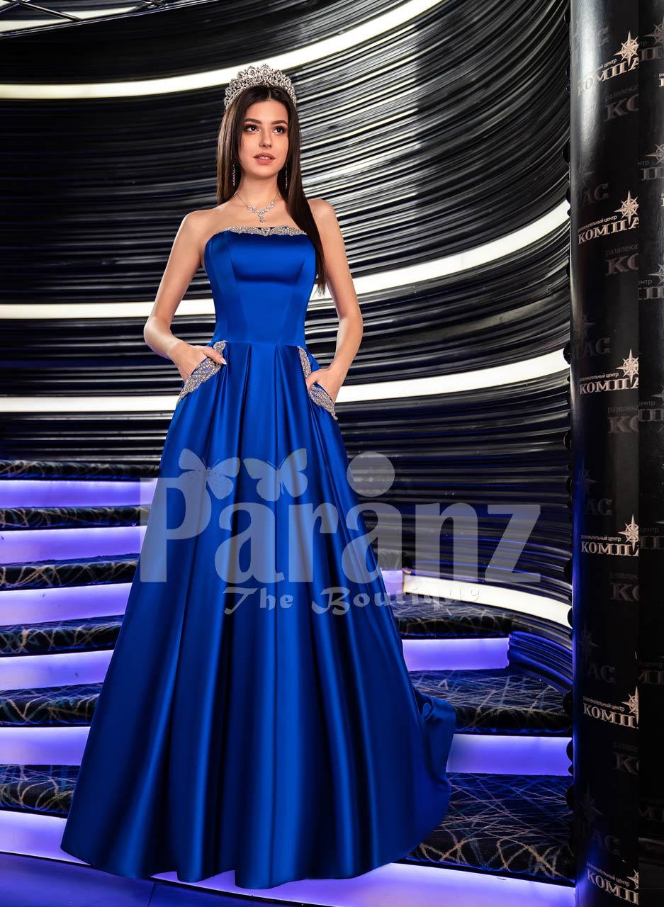 Women S Floor Length Rich Satin Soft And Silky Gown With Off Shoulder Bodice In Royal Blue