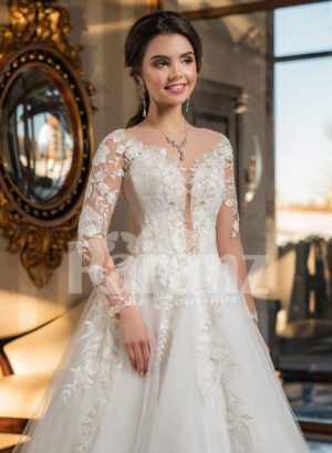 Womens full lacy sleeves high volume wedding tulle gown with royal bodice