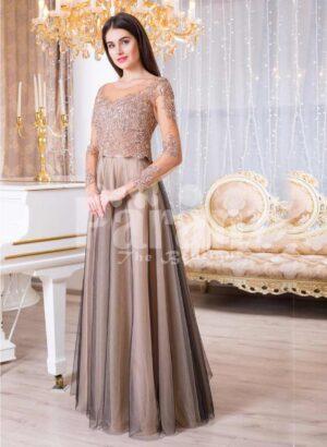 Womens full sheer sleeve floor length tulle skirt elegant evening gown