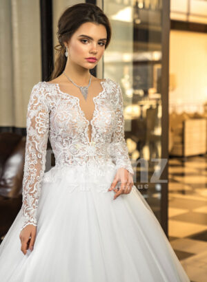 Womens full sleeve glam lacy bodice and tulle skirt floor length wedding gown