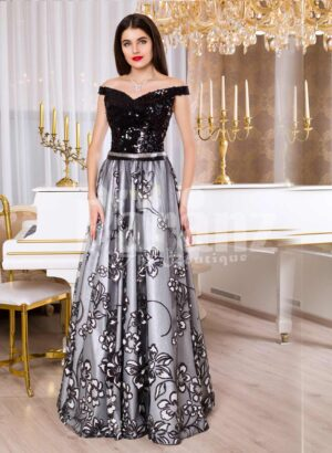Womens glam black bodice floor length evening gown with silver tulle skirt