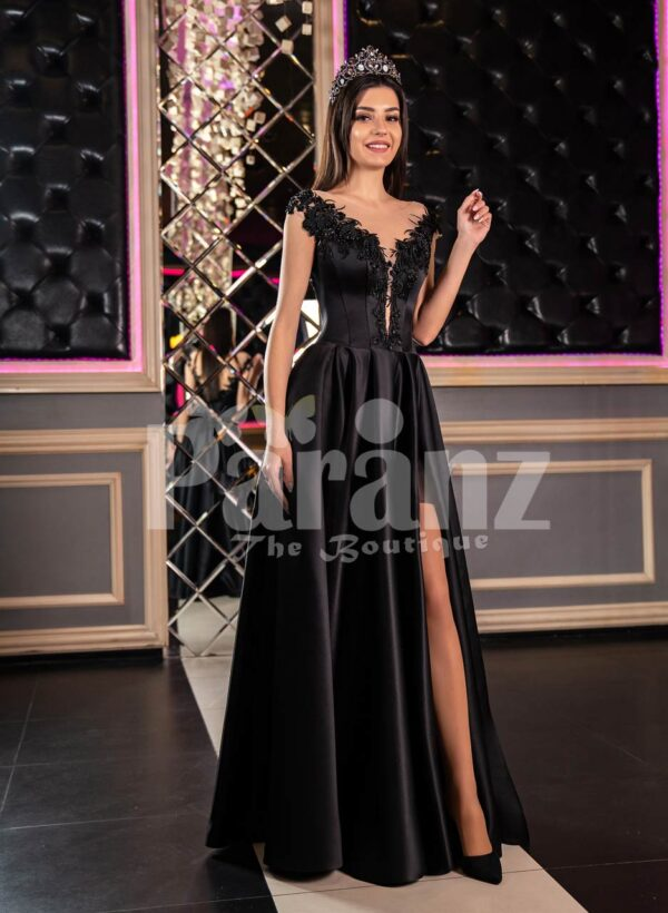 Womens glam black rich satin evening party gown with side slit skirt and lacy bodice