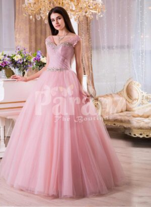 Womens high volume tulle skirt evening gown with lacy pink bodice