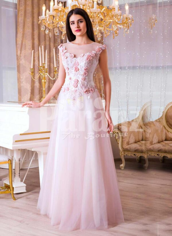 Womens light pink evening gown with long tulle skirt and pink flower appliquéd bodice
