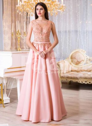Womens long evening glam gown with royal rhinestone bodice in peach hue