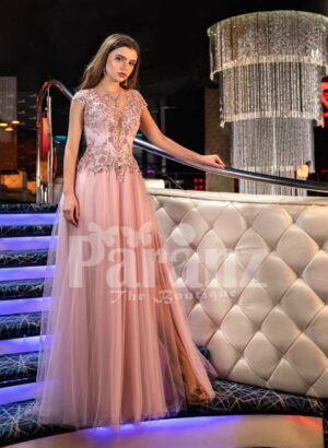 Womens metal pink side slit evening gown with floral rhinestone appliquéd royal bodice