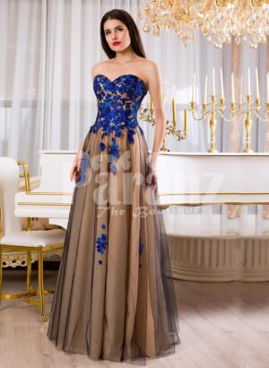 Womens off-shoulder long tulle evening gown with bright blue floral appliquéd bodice