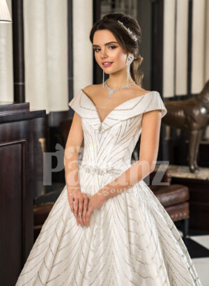 Womens off-shoulder super stylish rich satin flared wedding gown with tulle skirt underneath