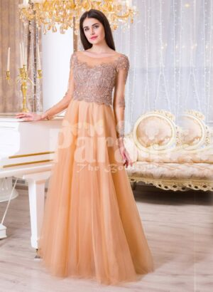 Womens peach orange sleek tulle skirt evening gown with royal sequin bodice