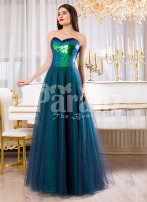 Womens peacock green off-shoulder sequin bodice evening gown with tulle skirt