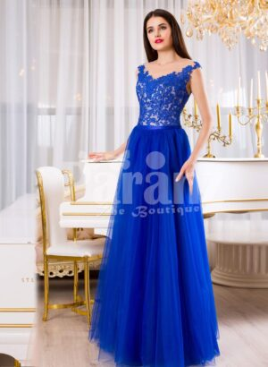Womens pleasing royal blue sleeveless evening gown with long tulle skirt