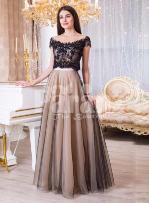 Womens rich black lace royal bodice evening gown with soft and sleek tulle skirt