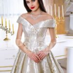 Womens rich satin flared and floor length silver satin gown with all over floral appliqués