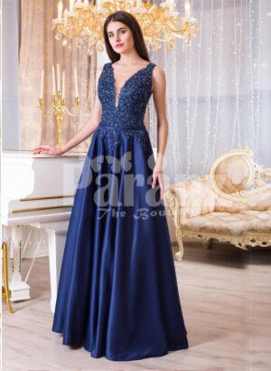 Womens rich satin long evening gown with glitz royal sleeveless bodice in navy