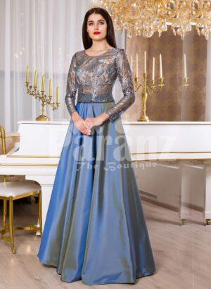 Womens rosette appliquéd sheer bodice evening gown with rich and smooth satin skirt