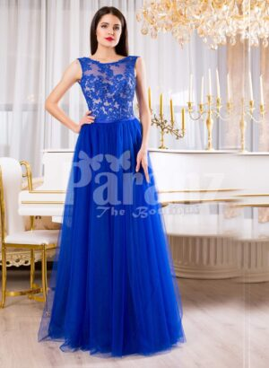 Womens royal blue elegant evening gown with long tulle skirt and lacy bodice