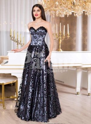 Womens satin floor length evening gown with off-shoulder bodice and all over bubble print