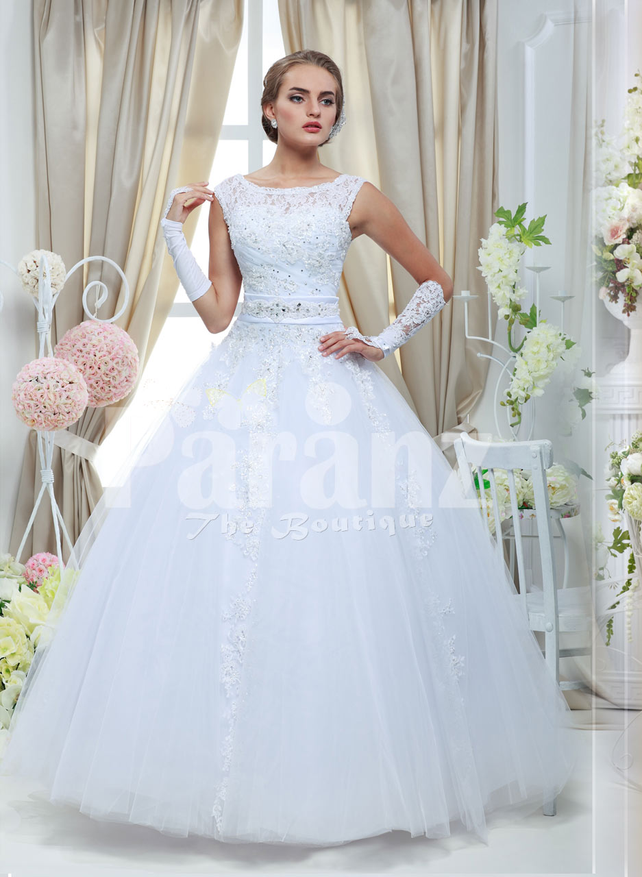Women S Simple And Elegant White Rich Satin Wedding Gown With Flared Tulle Skirt