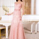 Women's soft light pink mermaid style rich satin gown with same hue appliqués is presently available at Paranz with lots of size options.