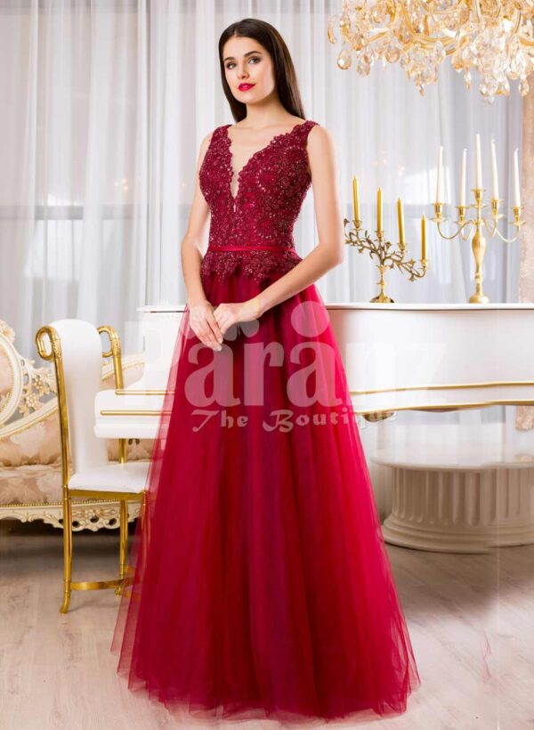 Womens soft maroon floor length tulle skirt gown with rich rhinestone bodice