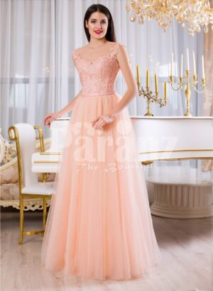 Womens soft peach long tulle skirt evening gown with threaded appliquéd bodice
