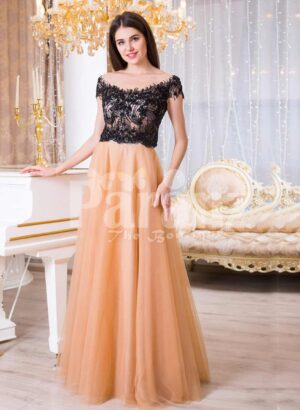Womens stunning evening gown with lacy black bodice and long peach tulle skirt