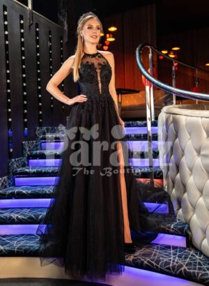 Womens super glam black tulle gown with lacy satin-sheer bodice