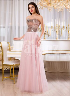 Womens super glam evening gown with silver sequin bodice with pink tulle skirt