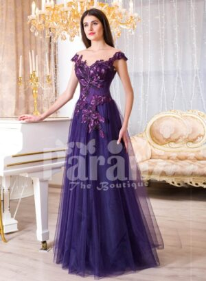 Womens super soft and sooth floor length tulle skirt gown with purple flower appliqués