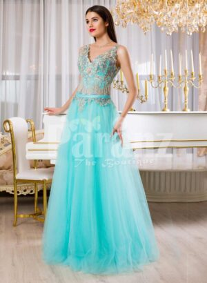 Womens super soft and stylish mint tulle skirt evening gown with rich floral bodice