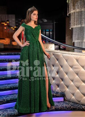 Womens super stylish and elegant glitz green party gown with side slit skirt