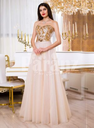 Womens super stylish golden sequin bodice evening gown with long pink tulle skirt