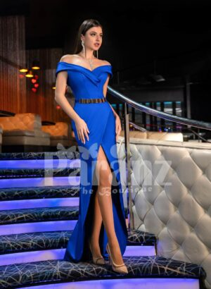 Womens super stylish side slit mermaid style evening gown with off-shoulder bodice