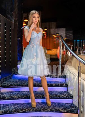 Womens tea length super stylish sky blue tulle skirt evening party dress with royal bodice