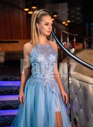 Womens truly beautiful glitz sky blue side slit tulle skirt gown with royal bodice