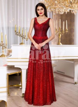 Womens vibrant red sleeveless evening gown with floor length skirt