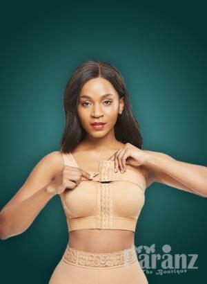 X back design under bust support and arm compression beige body shaper bra