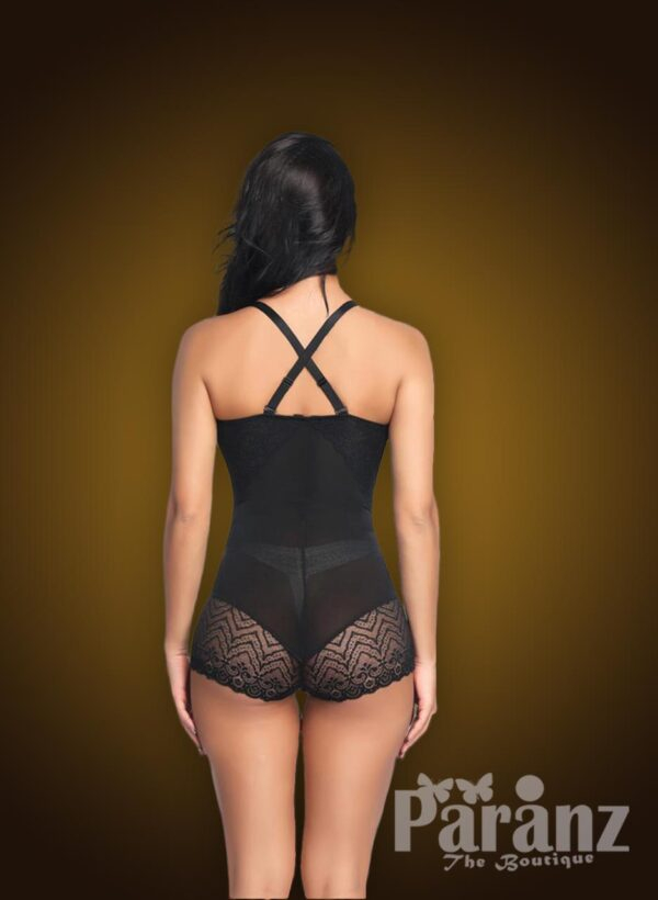 Black semi open-bust style delicate lace work strappy sleeve body shaper back side view