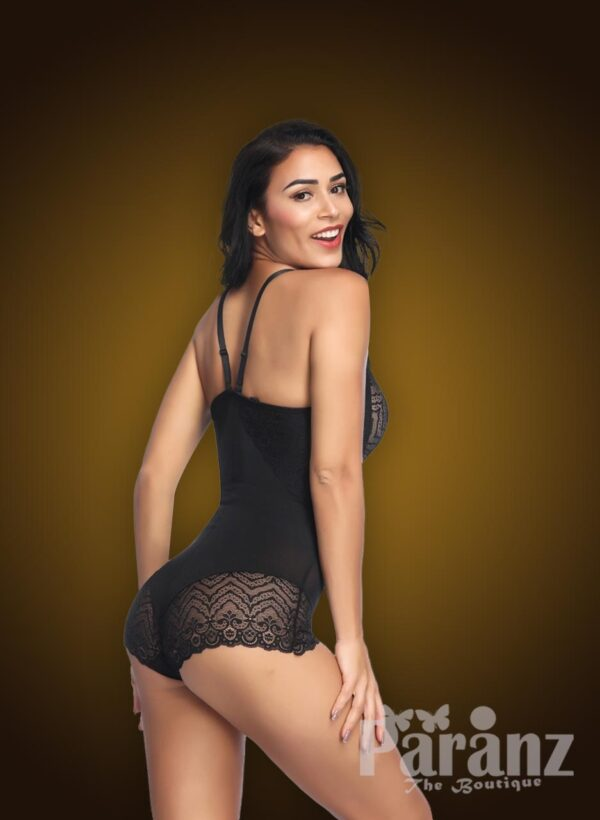 Black semi open-bust style delicate lace work strappy sleeve body shaper side view