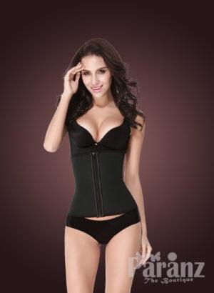 Front zipper closure soft fabric tummy slimming body shaper in black