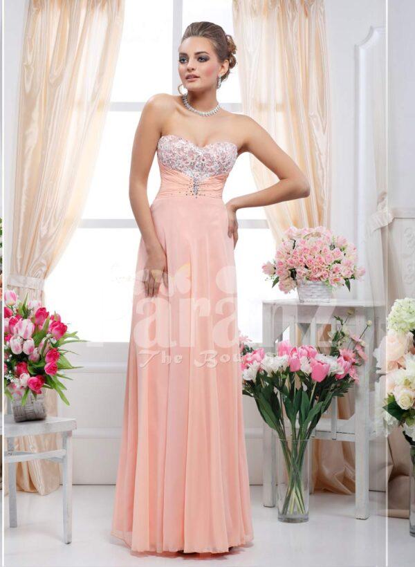 Off-shoulder floor length lightweight sleek tulle skirt evening gown in peach pink
