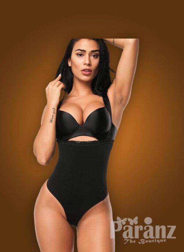Open-bust style high waist slimming black body shaper