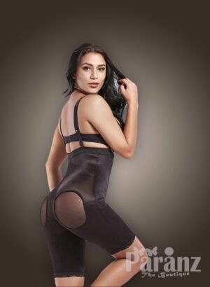 Open-bust style strappy sleeve underwear full body shaper in black