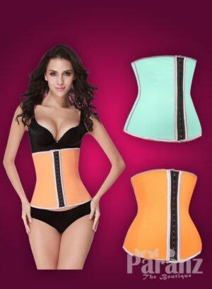 Pink-black super stylish double hook closure high waist correcting body shaper new orange