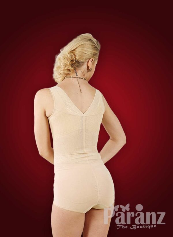 Semi open-bust style sleeveless body shaper with delicate lace work back side view