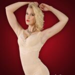 Semi open-bust style sleeveless body shaper with delicate lace work side view