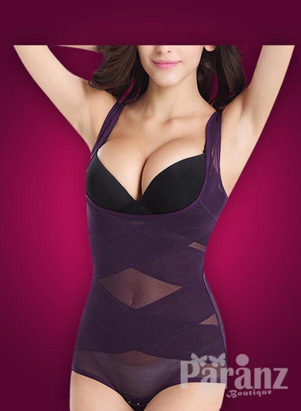 Sleeveless open-bust style net woven underwear body shaper