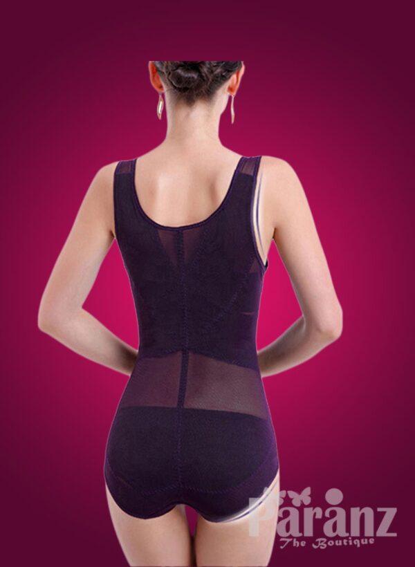 Sleeveless open-bust style net woven underwear body shaper back side view